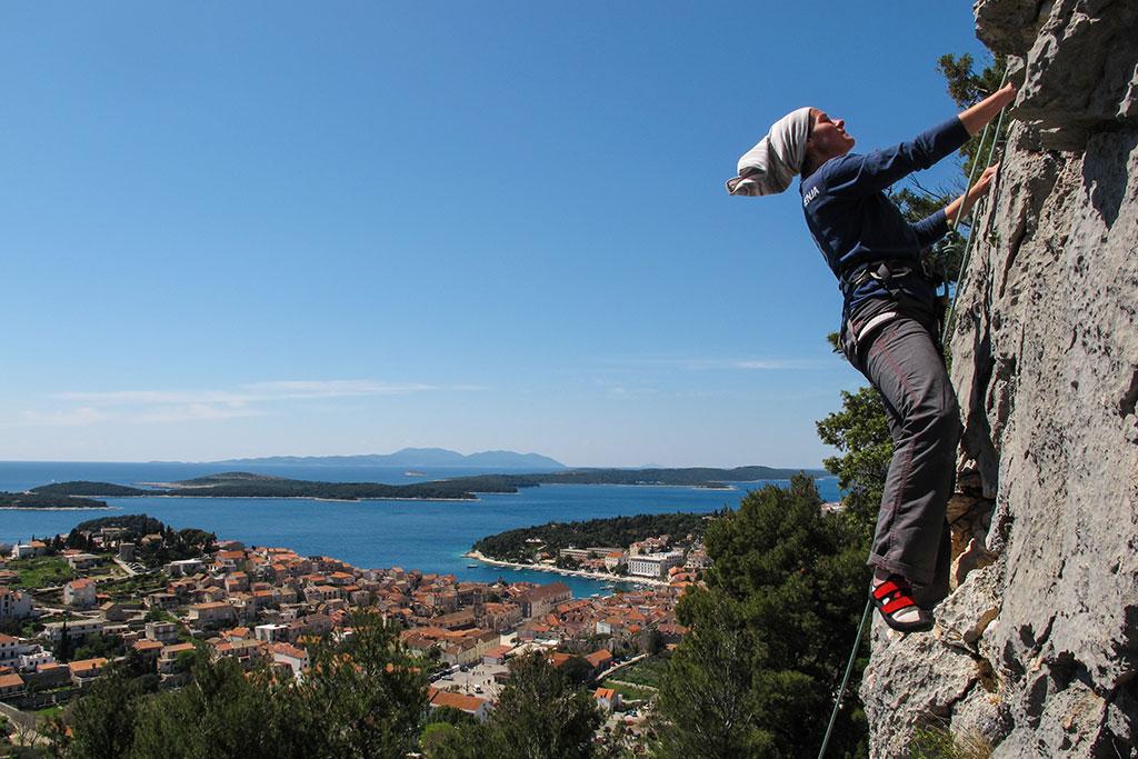 Rock climbing on the island of Hvar