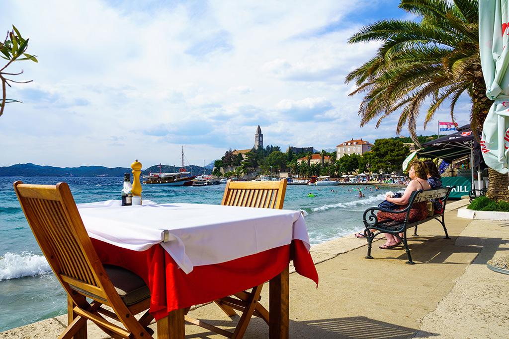 A boardwalk cafe on Lopud island, nearby Dubrovnik