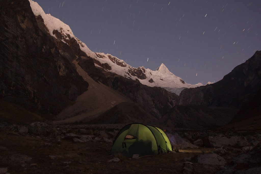 Camping tent on the base of Alpamayo, Peru