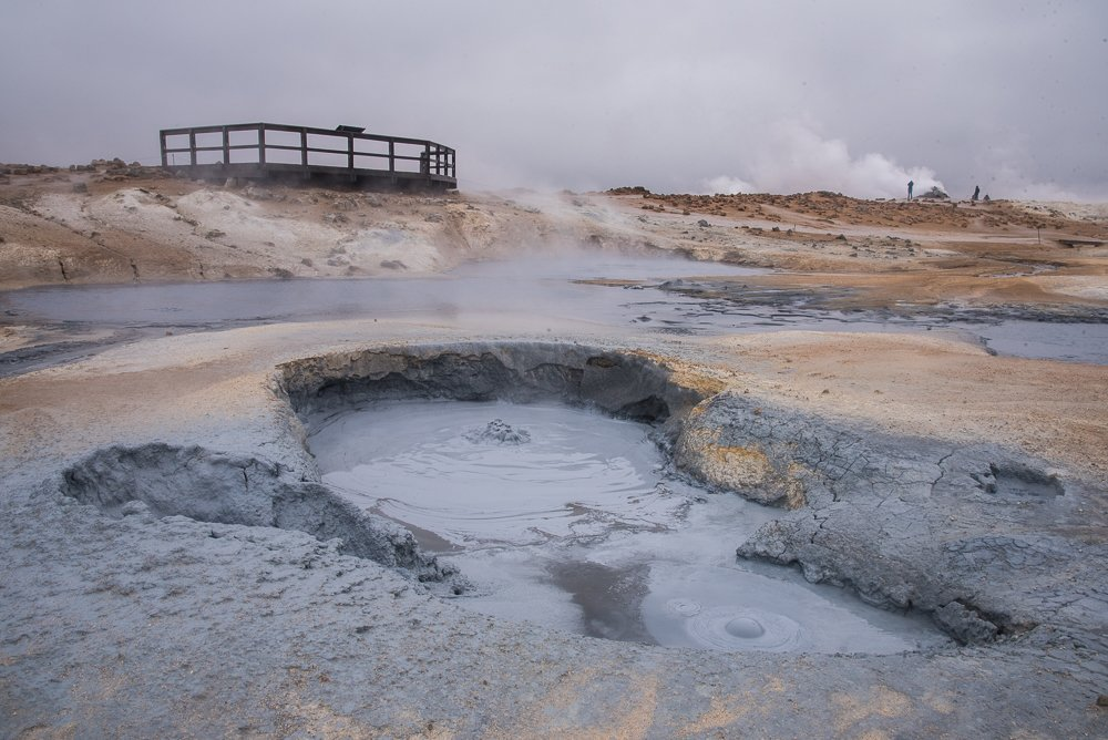 Bubbling mud pits at Hverarond geothermal area (photo by Chris McCarty)