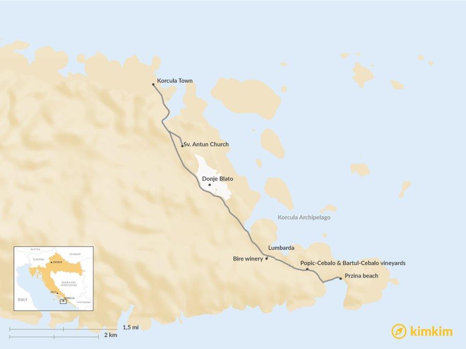 Map of Wine Tasting Tour Korcula
