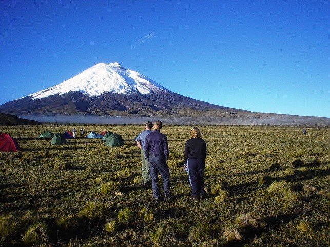 Our campsite in full view of Cotopaxi volcano.