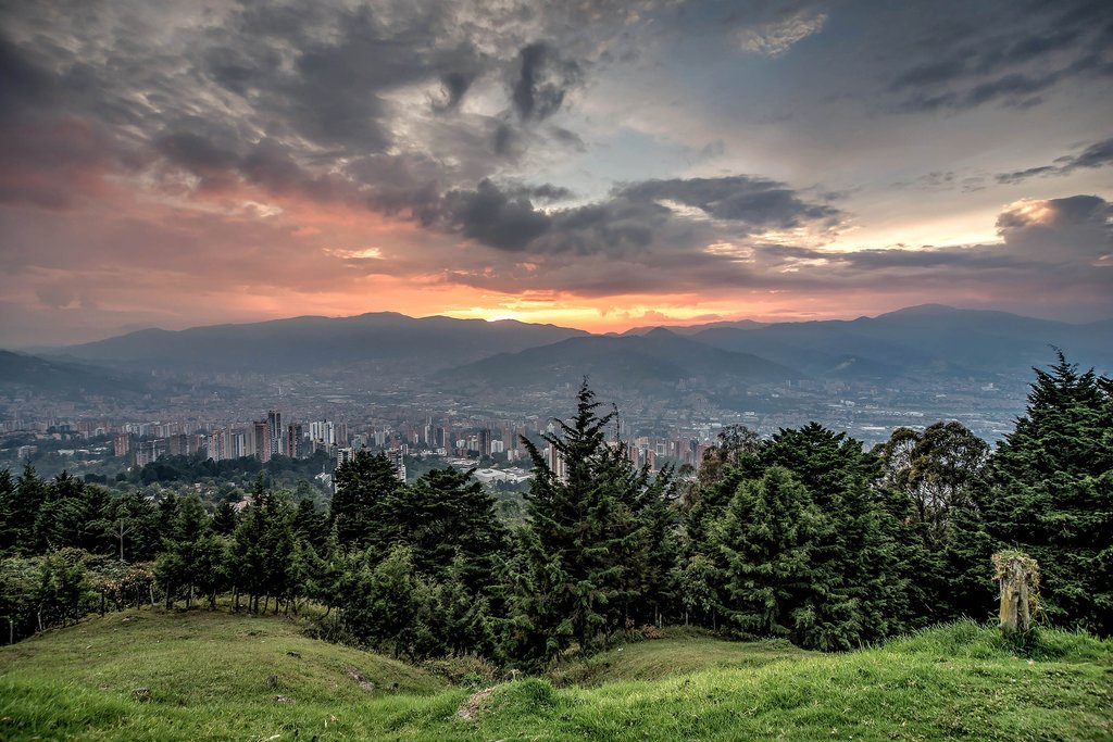 Cityscape of Medellin city at dusk