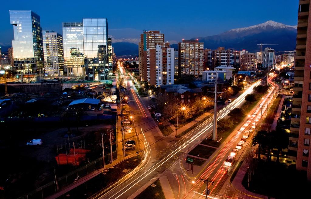 Busy traffic scene in downtown Santiago.