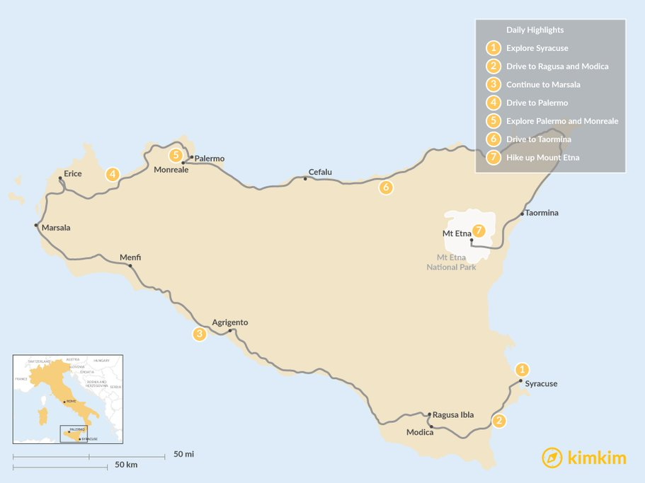 Sicily 7 day itinerary map