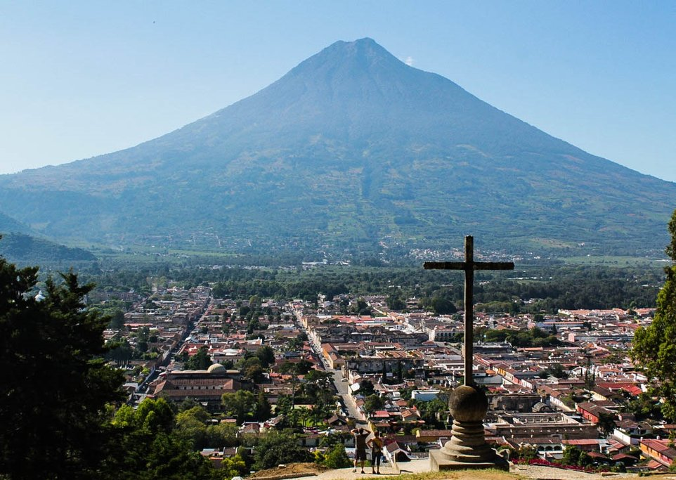 View of Antigua and Volcan Agua from Cerra de la Cruz (Hill of the Cross)
