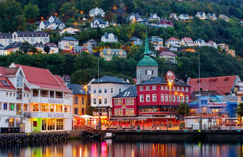 Bergen's waterfront at dusk.
