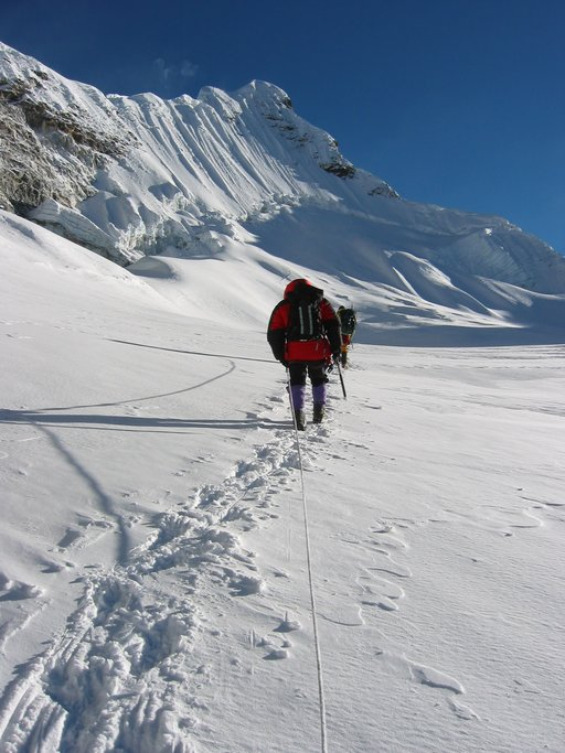 Crossing the glacier towards the summit