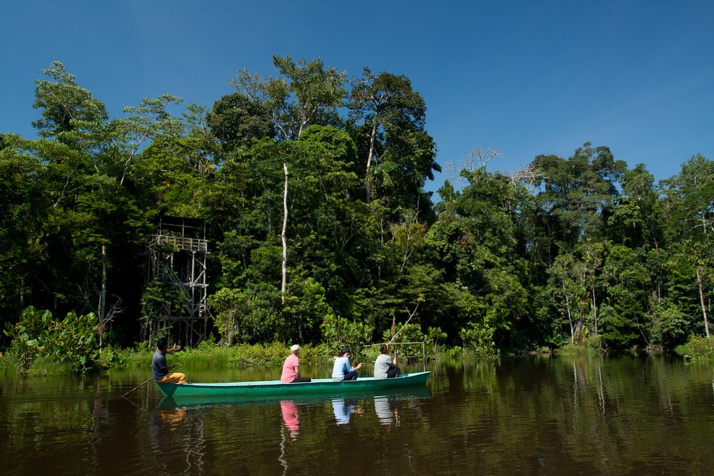 Traveling by canoe along the Napo River.