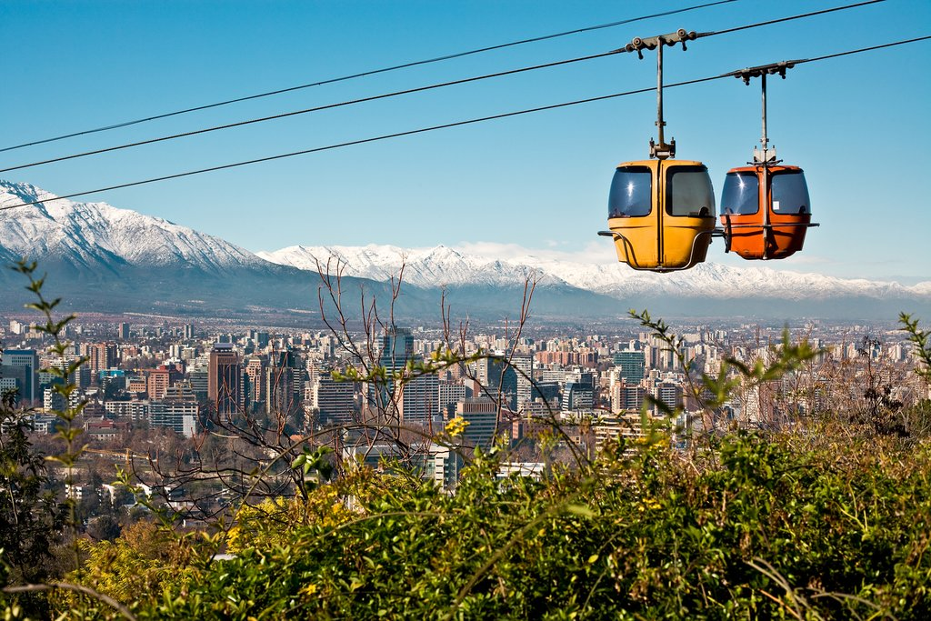 Cable car to San Cristóbal Hill, Santiago, Chile