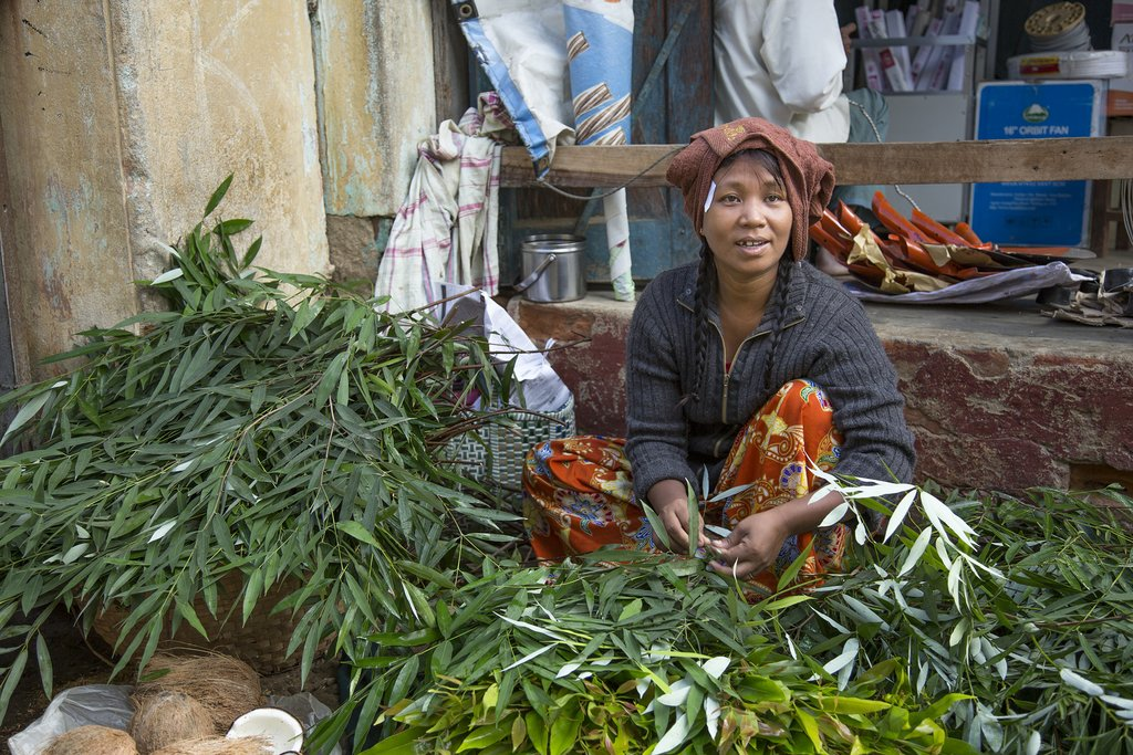 Vegetable market in rural Myanmar