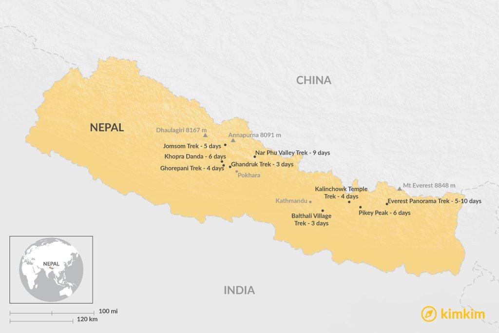Overview Map of Best Short Treks in Nepal