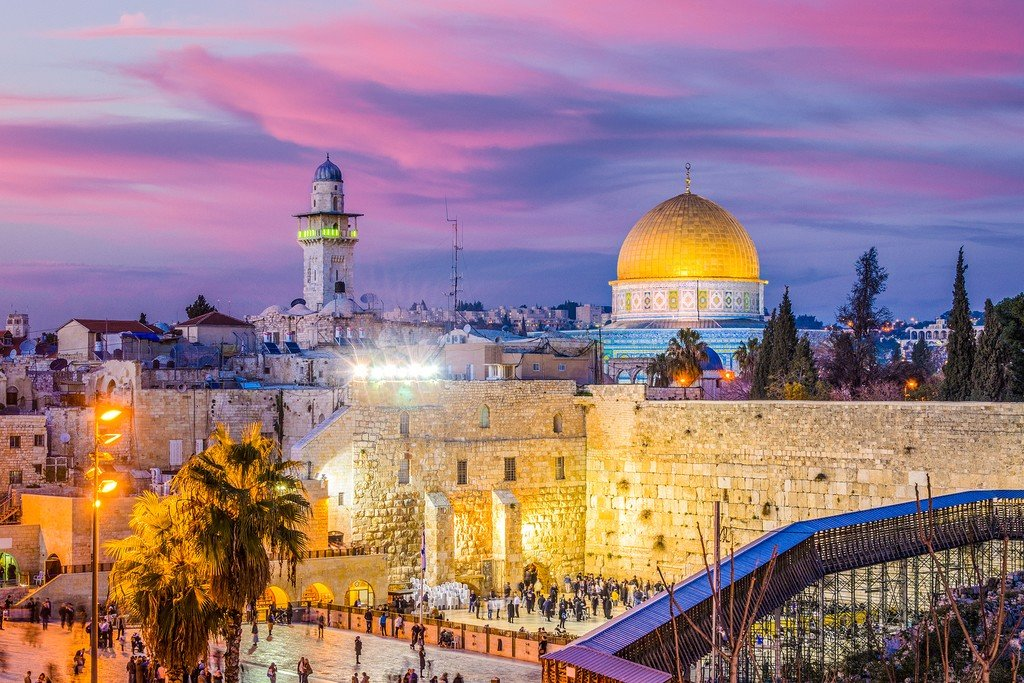 The Old City of Jerusalem at sunset