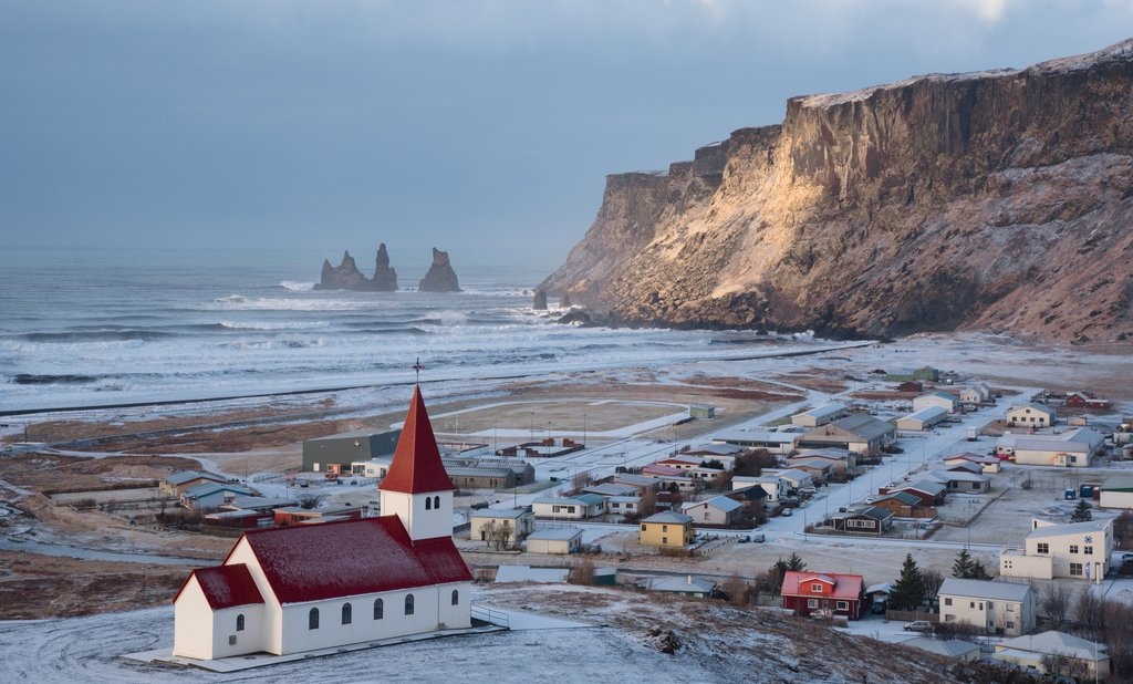A light snow covers Vik in southern Iceland