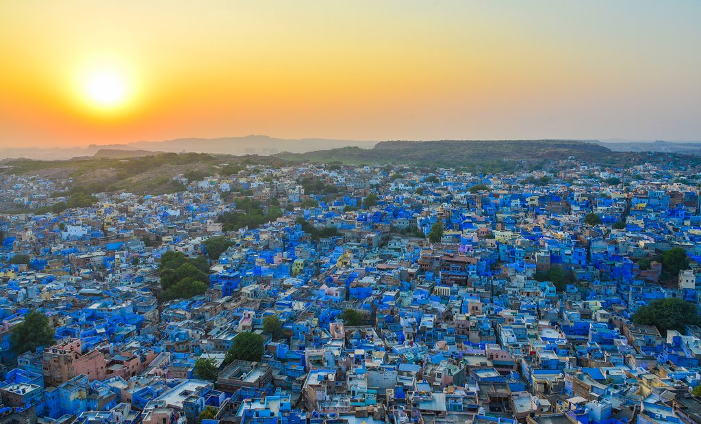 Blue houses at sunset in Jodhpur
