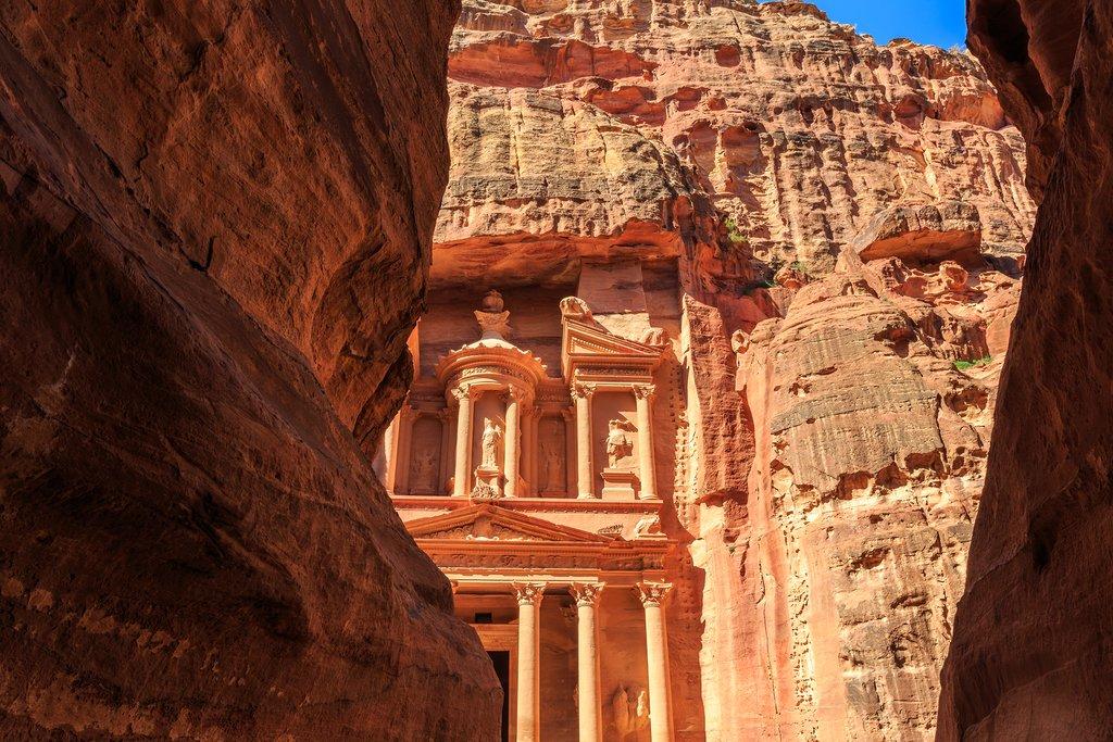 Caved buildings of Little Petra in Siq al-Barid Wadi Musa Jordan at daytime