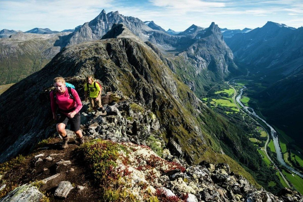 Hike along the challenging Romsdalseggen Ridge.