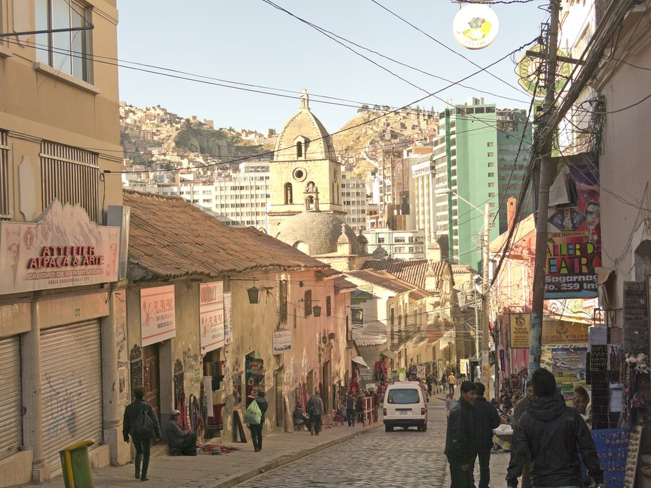 The streets in La Paz are steep and full of shops