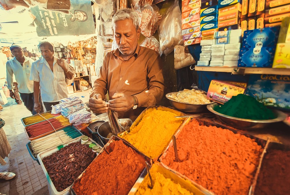 Traditional Indian spice market