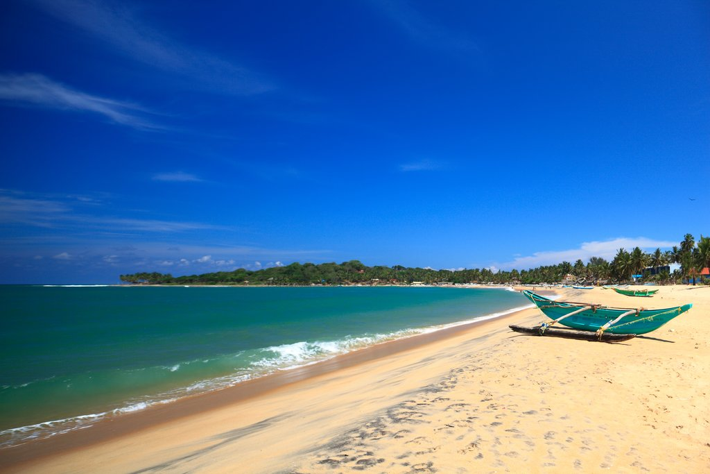Unawatuna beach, a beautiful stretch of coast on the southern shore of Sri Lanka.