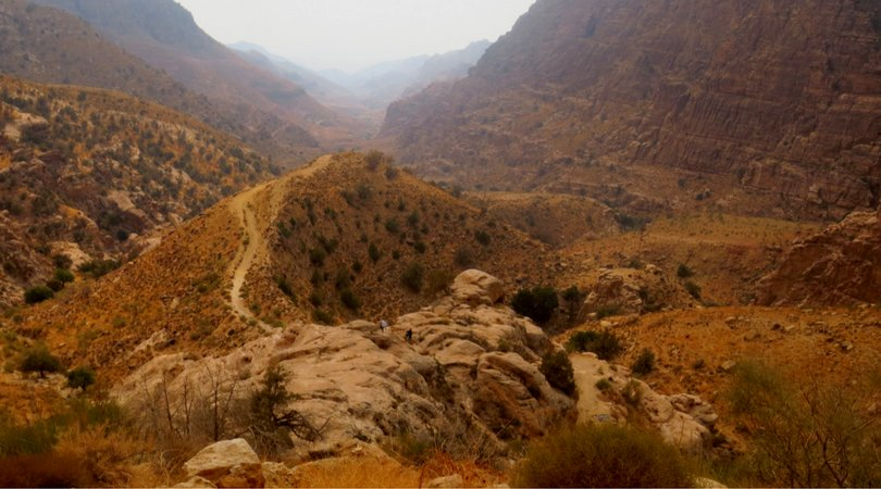 Hiking from Dana village to Feynan Ecolodge, with the view down Wadi Dana