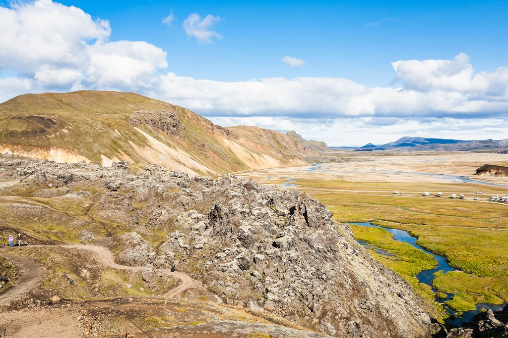 A panoramic view of the Landmannalaugar area of Fjallabak Nature Reserve.