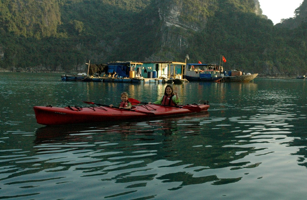 Kayaking around Halong Bay