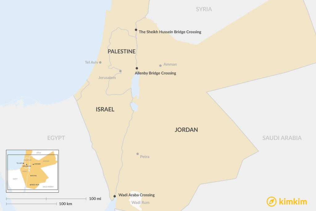 Map of border crossings between Jordan and Israel