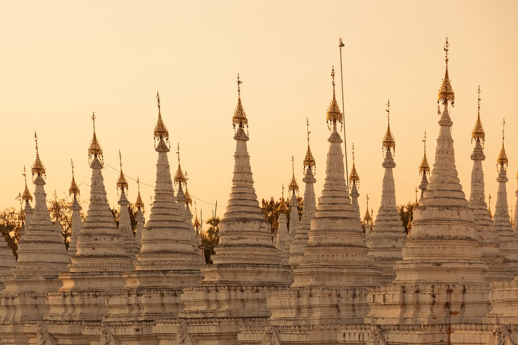 Whitewashed stupas at Mandalay's Kuthodaw Pagoda