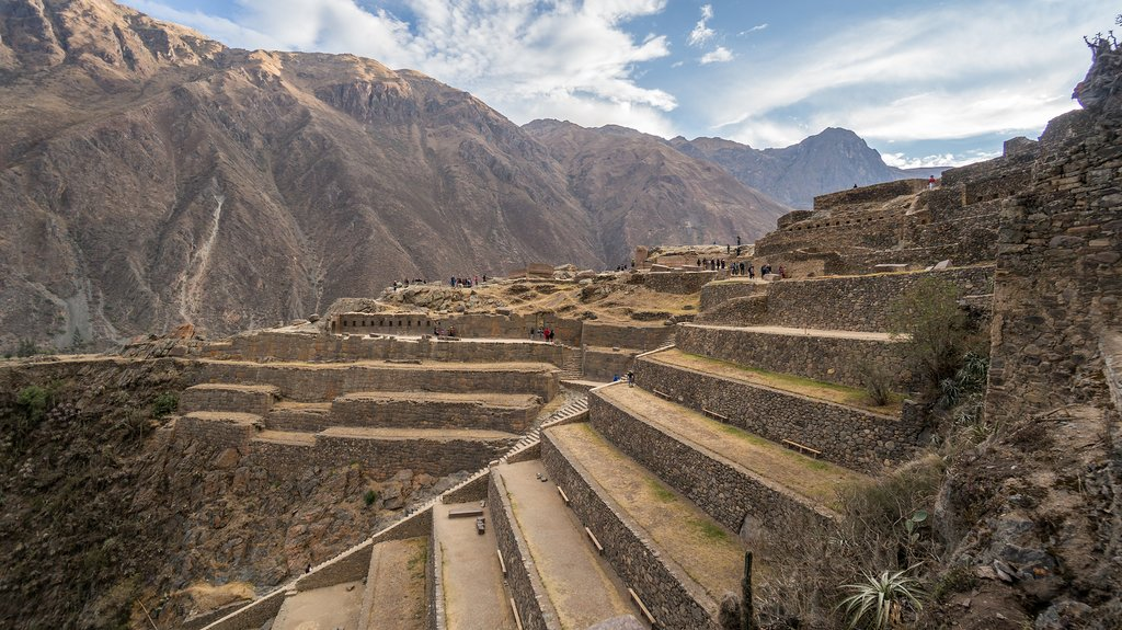 The ruins of Ollantaytambo rear above the town against the divine backdrop of the Sacred Valley