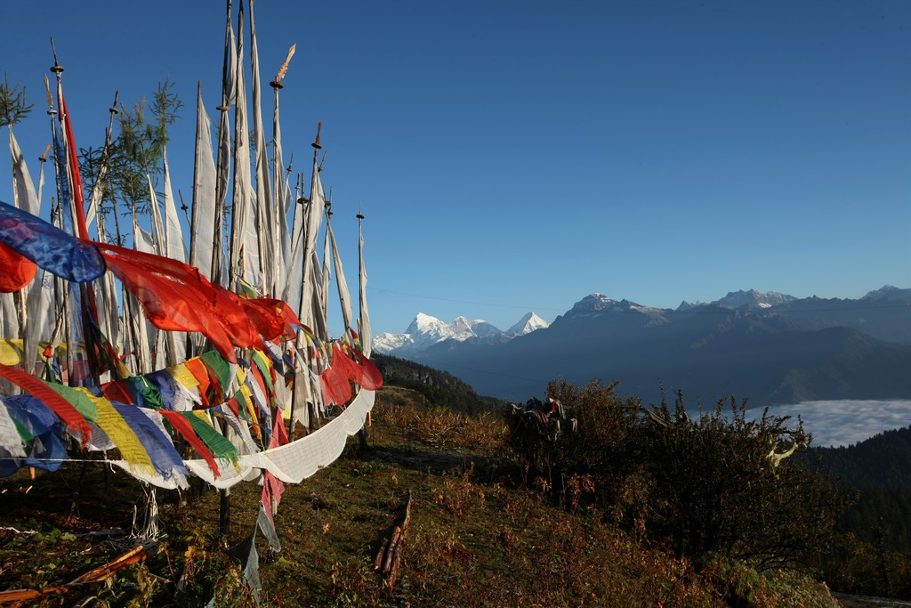 Buddhist prayer flags sending prayers across the Himalayas