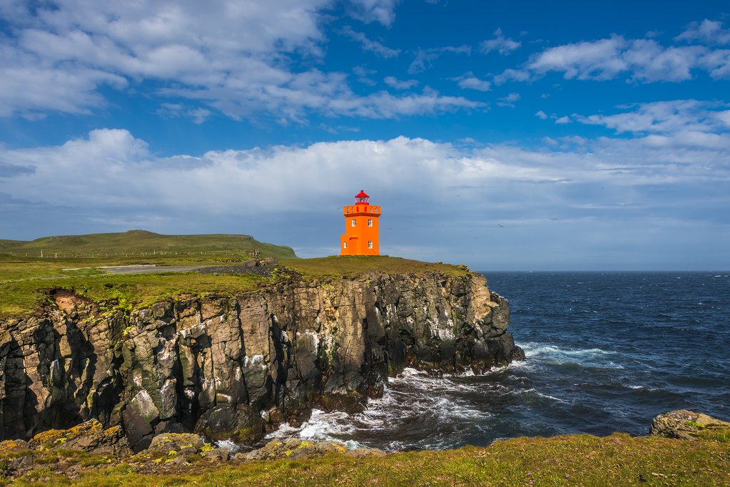 A lighthouse on the cliff of Grimsey Island