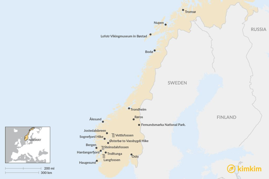 Top Norway Experiences In Summer Kimkim - Norway map highlights