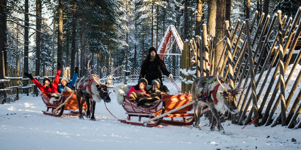Getting a ride from the local reindeer