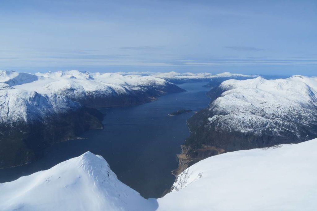 A winter view down into the fjords