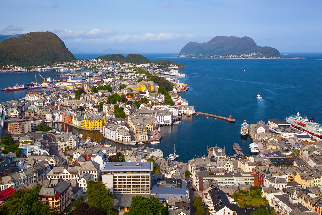 View of Alesund from the Fjellstua viewpoint