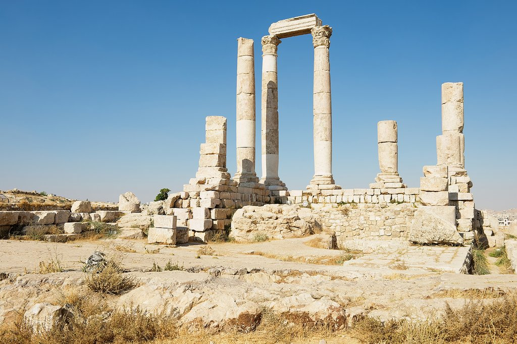 Ancient stone columns at the Citadel of Amman