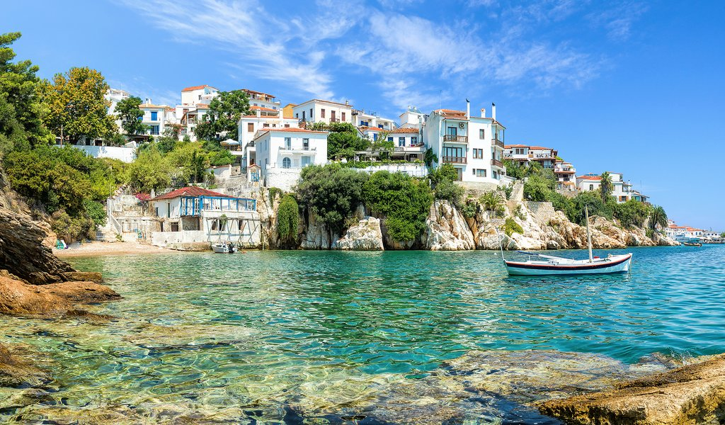 The old port of Skiathos, Greece