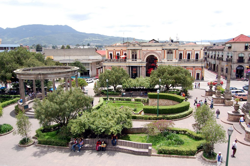 The main plaza in Quetzaltenango