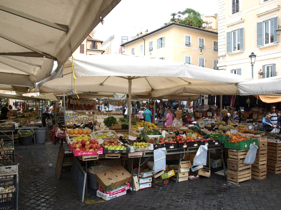 Campo de Fiori famous outdoor market in central Rome