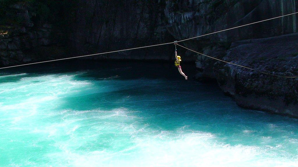 Ziplining over the river