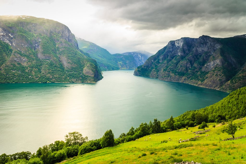 The hike ends near the Aurlandsfjord, a branch of the Sognefjord.