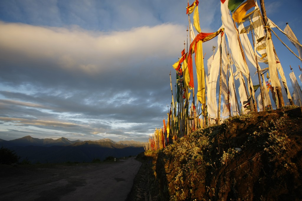 Buddhist prayer flags fluttering in the wind