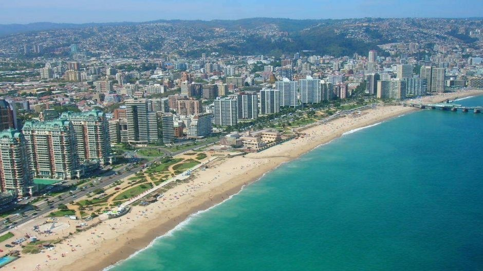 Viña del Mar, a coastal resort town located northwest of Santiago.