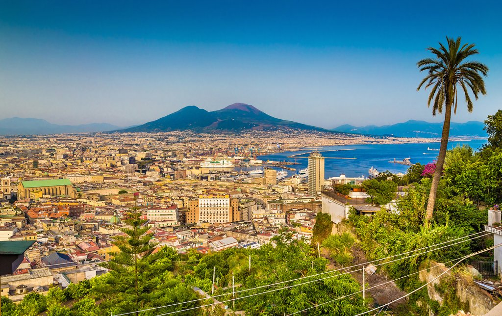 Aerial view of Naples with Mt. Vesuvius in the background