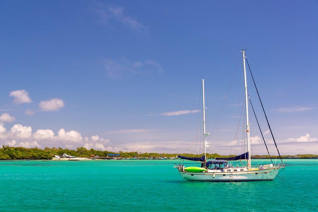 Boat in port at Isabela Island