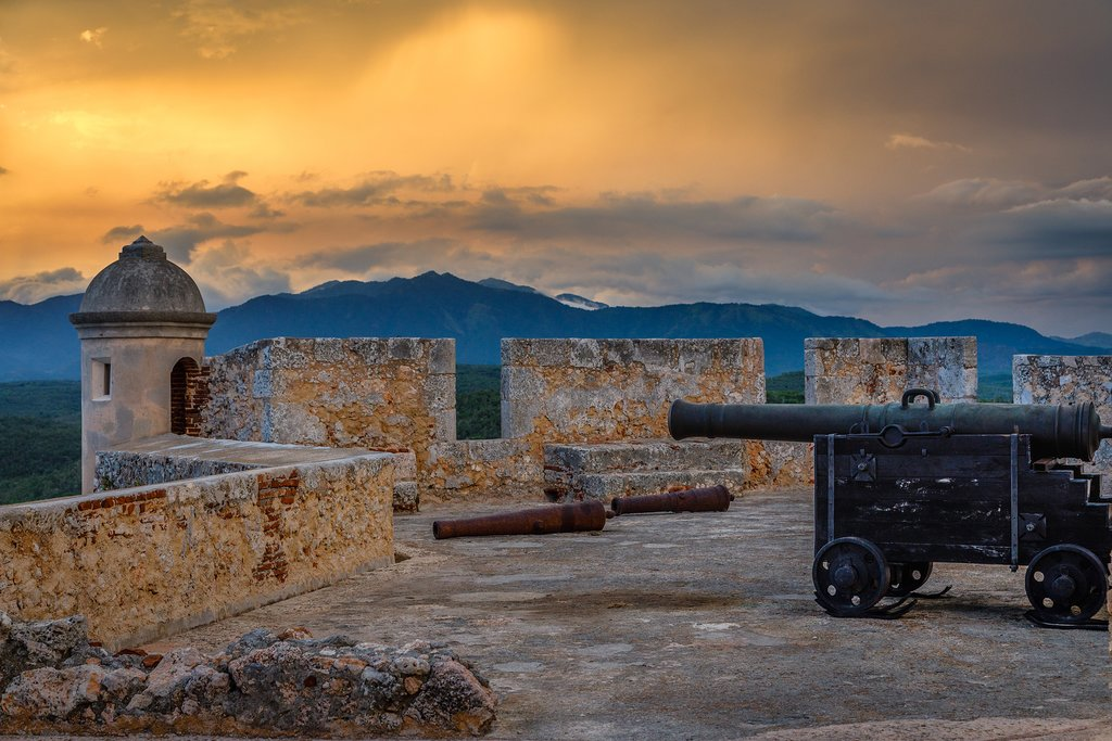 Morro castle at dusk, Santiago de Cuba