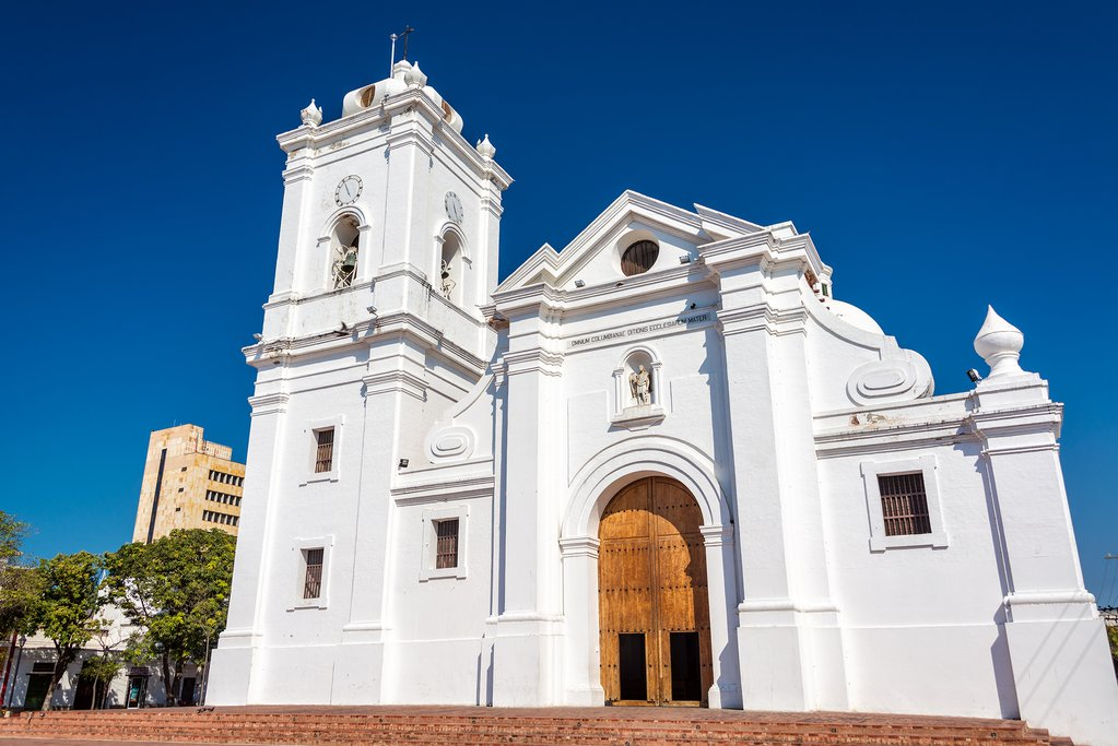 White cathedral of Santa Marta Colombia