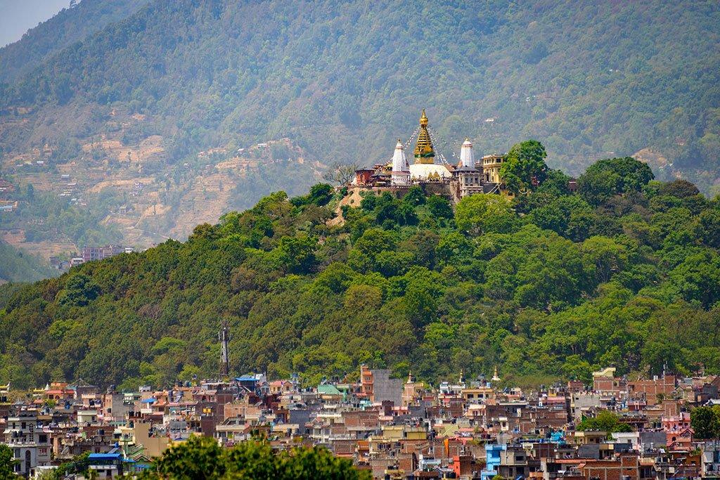 Swayambhunath rising above Kathmandu Valley