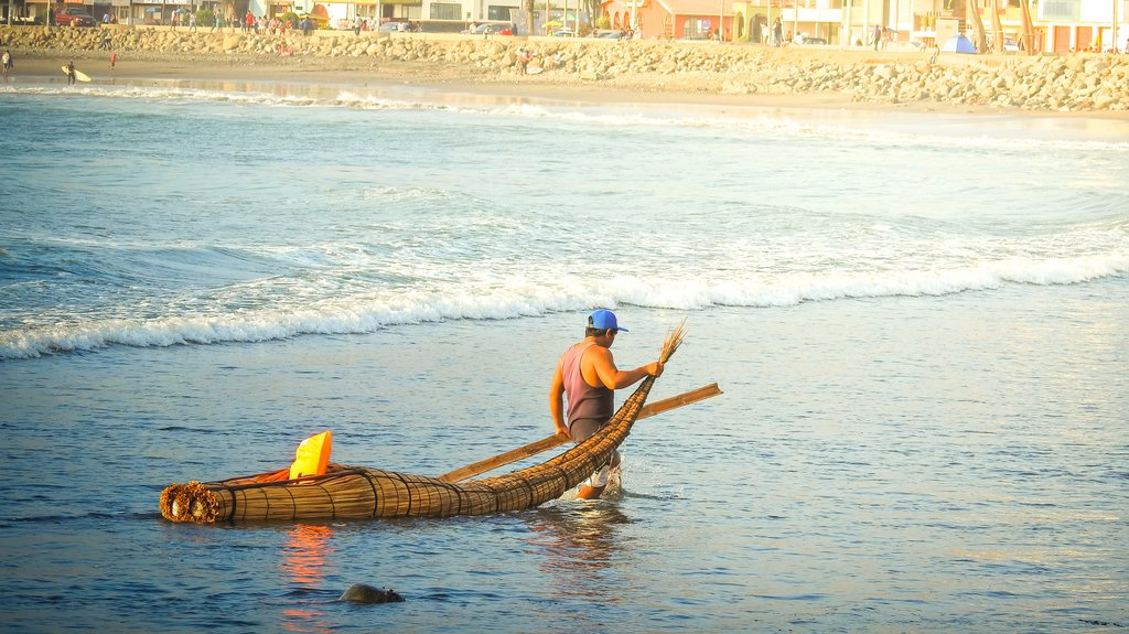 Traditional fishing boat in Huanchaco.